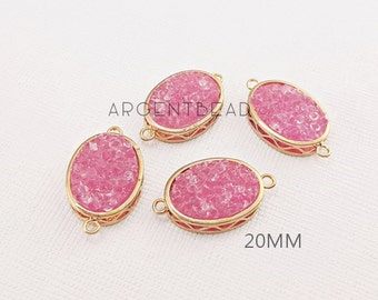 20.72x15.72mm pink fuschia Oval  Druzy pendant, agate pendant,gemstone pendant Gold Plated Edge agate,Wedding jewelry 2 pieces 151025