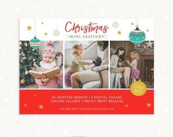 Christmas Mini Session Template, Christmas marketing board, Photography marketing, Photoshop template, Christmas template, Mini sessions