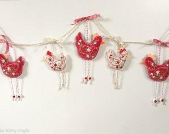 Red & White Chicken Garland. Rustic Chickens. Country Style Garland. Chicken Garland.  Cottage Style Garland. Embroidered Chicken Garland