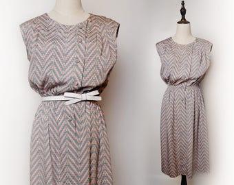 Pink Women Vintage Dress Grey Lattice Print Pleated 1960s Sleeveless Size M