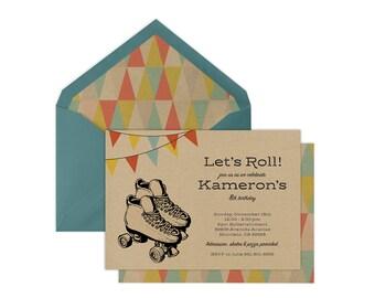 Printable Roller Skate Birthday Invitation | Roller Skating Party | Printable Roller Skating Invite | Boy or Girl Invitation | Rustic Invite