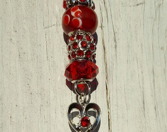 Red Beads and Heart Charm Key Chain