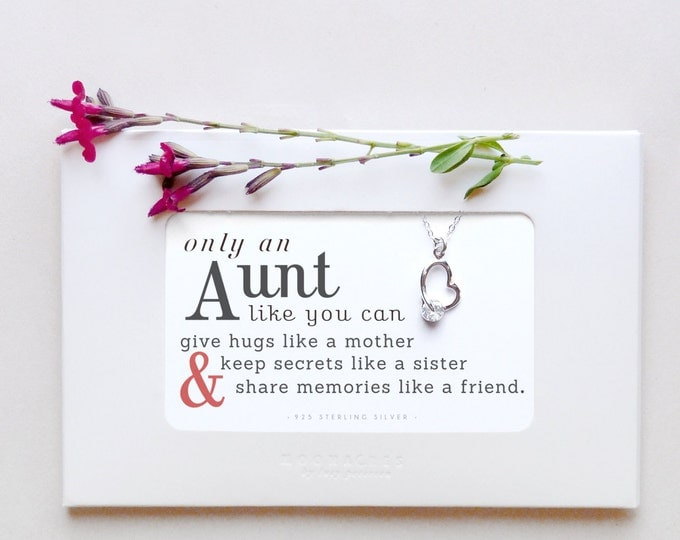 Only An Aunt | Sterling Silver Heart Necklace Quote Poem Message Card Birthday Christmas Wedding Gift New Aunt Thank You Gift From Niece