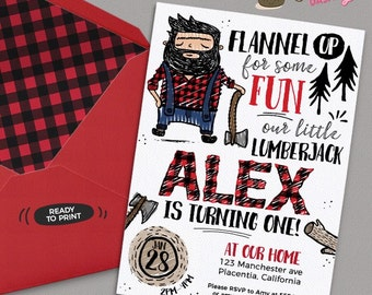 Doodly Lumberjack First Birthday Party Photo invitations DIY Woods Woodland printable Birthday invite Lumberjack party invitation doodle