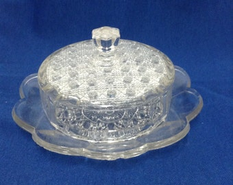 Vintage Butter and Cheese Glass Dish