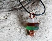 Genuine Sea Glass, Zen Pendant, Celtic Jewelry, Sea Glass Necklace, Irish Gifts, Beachcomber Pendant, Surf Jewelry, Sea Lover Gift, Ocean