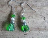 RESERVED-LISAWire Wrapped Sea Glass Earrings, Irish Sea Glass Jewelry, St Patricks Day, Irish Gifts, Boho