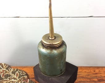 Vintage Green Oil Can, Industrial Vintage, Industrial Decor, Man Cave, Den or Office, Vintage Metal Oil Cans, Rustic Decor, Industrial Chic
