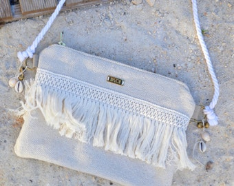 Bag shoulder strap/sleeve Beige Style Bohemian / Gypsy to fringe DIAZON