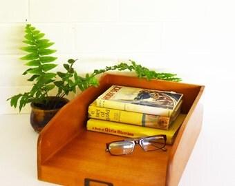 Wooden Desk filing Box- Filing Draw -  Vintage Desk Organiser-  Mid Century