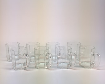 Vintage French made Arcoroc Octime glass mugs - set of 8