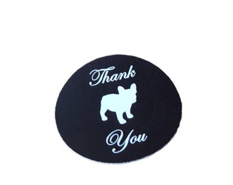 French Bulldog Round Thank You Self Adhesive Glossy Labels Envelope Seals Stickers Wedding Favors