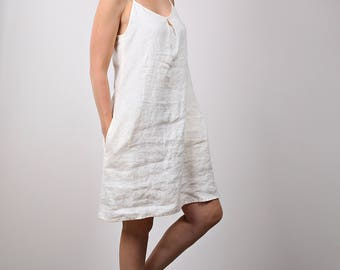 Cream White Linen dress, Loose Sundress with straps, Mini casual flax dress.