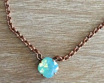 12MM Single Pacific Opal Swarovski Necklace in Copper setting