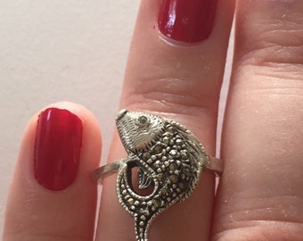 Vintage Marcasite 925 Sterling Silver Fish Ring