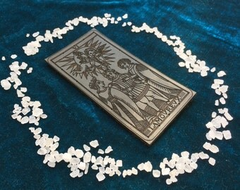 Leather THE LOVERS Tarot Patch / Lamorevx / Tarot of Marseilles / Goth / Pagan