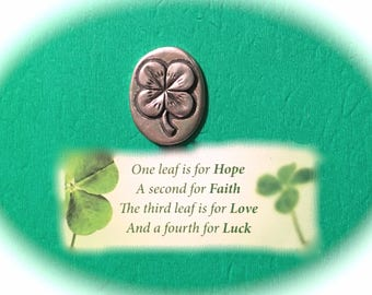 "4-LEAF CLOVER TOKEN With ""Good Luck"" Engraved on Back Side-Good Luck Charm-With Gold Bag-Pewter-Raised Four (4) Leaf Clover Good Luck Token"