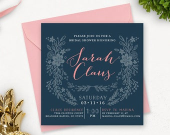 Navy Bridal Shower Invitation Printable / Printable Bridal Shower Invitation / Floral Bridal Shower / Wedding Shower Invitation