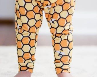 Handmade Baby Leggings - Honeycomb Baby Leggings - Honeycomb Leggings - Boy Leggings- Girl Leggings - Toddler Leggings - Bee Baby -Honey Bee
