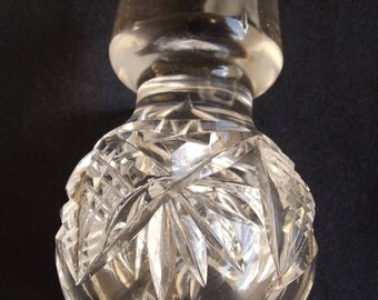 Cut Glass Stopper With Fan Cut and Crosshatch 1 inch fitter