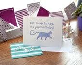 Cat Birthday Card Handmad...