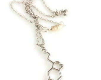 Best friend gift Good luck charm Serotonin molecule necklace Chemistry student gift Lucky charm Happiness necklace Gift for her bff sister