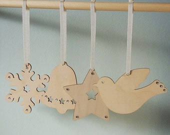 Wooden Christmas Decorations - Set of 4