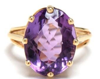 14 Karat Yellow Gold Amethyst Ring