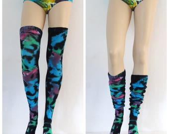 Tie Dye Thigh High Socks Black and Neon Rave Festival Psychedelic Leg Warmers