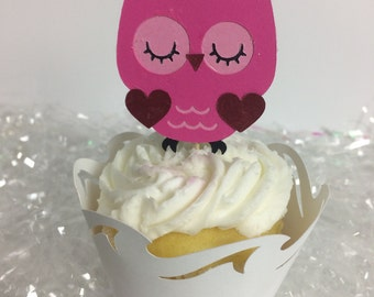 Pink Owl Cupcake Toppers ~ birthday ~ baby shower ~ party