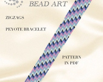 Peyote pattern, Zigzags peyote bracelet PDF pattern - instant download