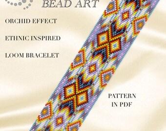 Bead loom pattern - Orchid effect ethnic inspired LOOM bracelet PDF pattern instant download