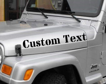 2 x Jeep Wrangler Custom Words Text Windshield Banner stickers hood fender bumper TJ JK cj yj  vinyl Personalized Graphics design Lettering