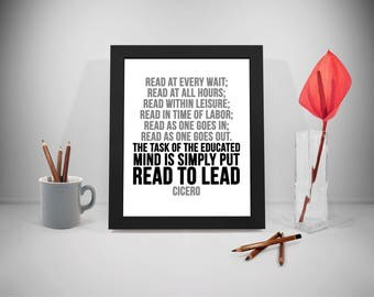 Read To Lead Quote, Reading Quote, Reading Poster, Education Motivation Quote, Mind Quotes, Reading Print, Read Quotes, Lead Quote