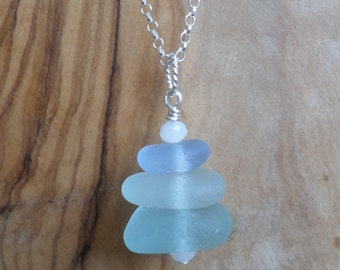 Shades of Blue Stacked Sterling Silver Sea Glass Necklace, Seaglass Necklace Pendant, Beach Glass, Beach Jewelry, Seaham, Beach Glass, Stack