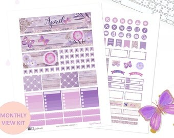 April monthly view kit, 50% OFF Printable planner stickers, Butterfly floral planner, use with ECLP, Spring, Lavender, glitter, diamond