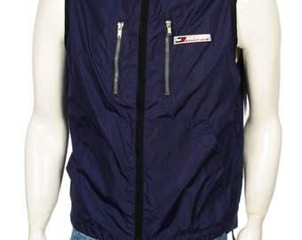Vintage 90's Hilfiger Athletics Hooded, Jacket / Vest Navy Blue Size S