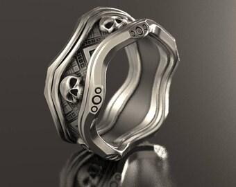 Skull wedding ring, Alien ring, geek wedding ring, sci fi ring, ufo ring, goth skull ring, silver mens skull, fathers day gift