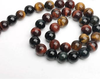 Natural Tiger Eye Beads, Full Strand 15 inch, Round Tigereye Stone, Gemstones Beads, 4mm 6mm 8mm 10mm 12mm - B060