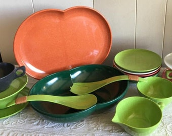 Vintage Brachell Melmac Including Kaye LaMoyne Designs & Color-flyte Cups Plates Bowl Platter and Salad Serving Tongs