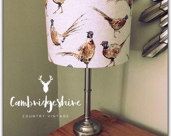 Handmade Custom Country Vintage Living Lampshade Style Pheasants Print Linen - 20/30/40cm drum lamp shade