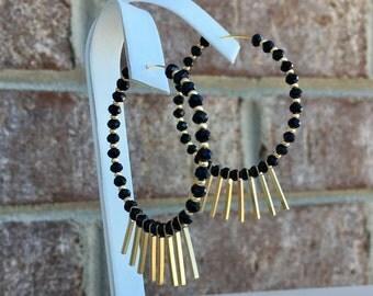 1.75 inch Hoop Earrings/ Gold Stick/ Czech Black Beads/ Bead Hoop Earring/ Gold and Black Earring