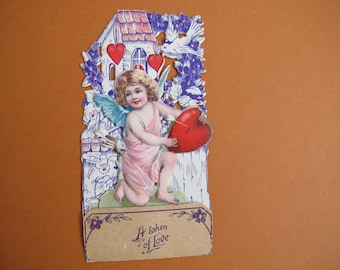 Victorian pop-up Valentine's Card printed in Germany / A token of love cupid card / To Daddy from Helda