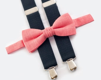 Boys birthday outfit, Coral bow tie & Black suspenders, toddler suspenders bow tie