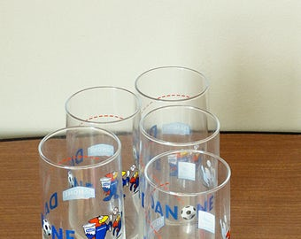 Tall water glasses Set of 5 Soccer World Cup France 98 collectible football memorabilia Danone ad Soccer gift for him Vintage 1998