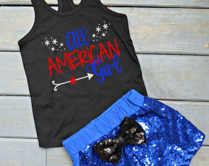 All American Girl Outfit, Girl's Fourth of July Outfit, July 4th Shirt, Sequin Shorts, July Baby, Sparkly Shorts