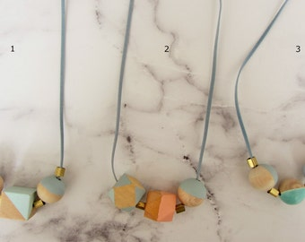 Necklace in the band/wooden beads, brass beads / velour Ribbon/geometric/blue/green/gold/blue