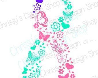 Ribbon svg / elegant ribbon svg / butterfly ribbon svg / awareness ribbon svg / inspirational ribbon / ribbon clip art / vinyl crafting