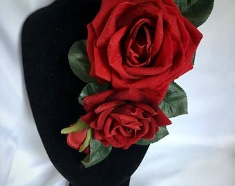Red rose corsage - rich red velvet feel rose dress corsage - 30s 40s 50s vintage pin up style