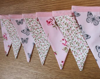 Pink floral bunting, pink floral banner, floral bunting, floral banner, shabby chic bunting, shabby chic decor, butterflies bunting